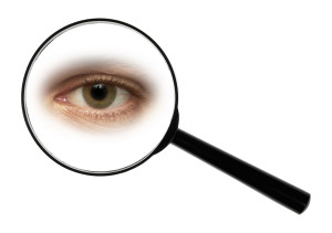 A magnifying glass against white background enlarged eye.