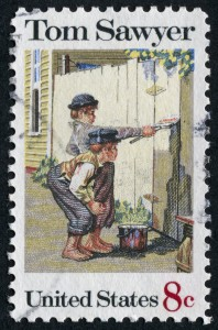 """Cancelled Stamp From The United States Featuring The Mark Twain Character, Tom Sawyer."""